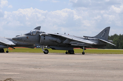 A Marine Corps Harrier plane on display at the Vidalia Onion Festival air show.