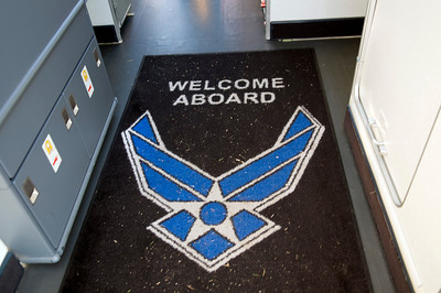 As you enter the plane, there is this welcome mat. As you can see, people forgot to wipe their feet before boarding the plane.