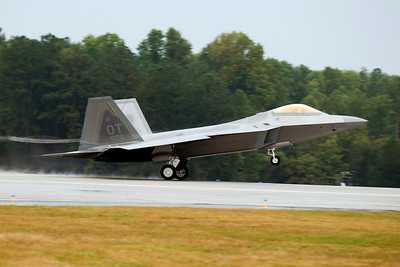 A brand new F-22 Raptor takes off from Dobbins ARB. These planes are built at the Lockheed Martin factory that is part of the Dobbins ARB complex.