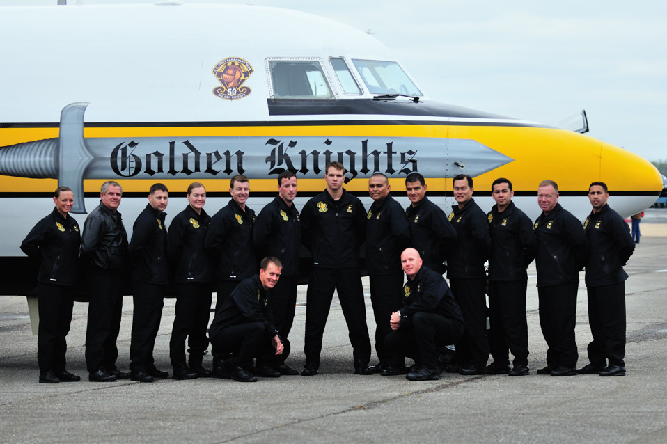 This year is the 50th anniversay for the US Army Golden Knights. Here is the Black Team before the prepared for the opening jump at the Tuscaloosa Air Show on Friday. The team was nice enough to invite me to ride along on the jump. It was the thrill of a lifetime.