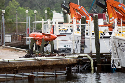 One of the Tyndall AFB drone aircraft, sitting on the dock. These drones are used over the Gulf of Mexico to aid in pilot training.