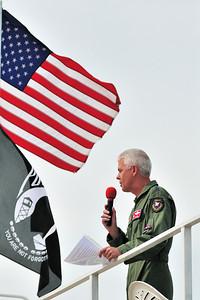 Major Gen Davis welcomes the crowd to Eglin's 75th Anniv. Air Show
