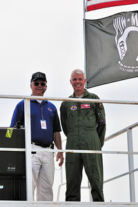 Hugh Oldham (air show narrator) and Eglin AFB Base Commander Major General CR Davis.