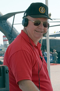 Hugh Oldham prepares for the start of the 2010 air show season with the Thunder In The Valley air show in Columbus, GA.  Hugh is the air show announcer and master of the show.