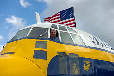 Yes that is me in the Pilots seat of Fat Albert. I was lucky enough to be invited to ride along during their Sunday show in front of the crowd. A ride aboard Fat Albert is called 'Max Tactical' by the Marines. I call it the ultimate E ticket ride.