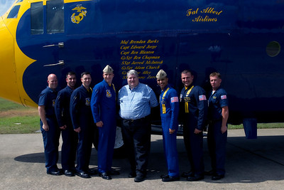 After my ride with the Blue Angels Fat Albert on Sunday, I got my photo taken with the all Marine crew of the C-130.