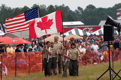 The local Boy Scout troop presents the colors before the Saturday air show begins.