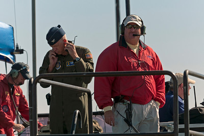 George Cline, the Airboss, keeps a watchful eye over everything.