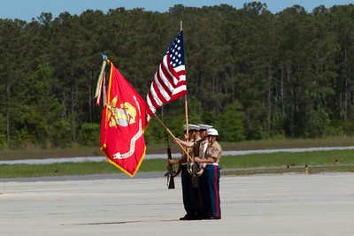 Marine honor guard for the playing of the National Anthem.