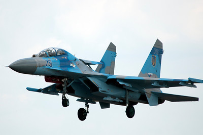 The Ukraine Air Force's SU-27 Flanker is seen here arriving on Thursday. It was the 'hit' of the aircraft on static display during the show.