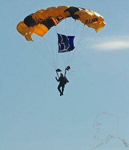The United States Army Golden Knights Parachute Team. Coming in for a landing.