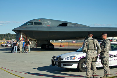 On Guard at the B-2. Only a select few got to get under it and touch it. They only let me take a few pictures then told me that was enough.