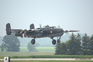 The CWHM B-25 making a picture perfect landing at Brantford on a foggy morning.