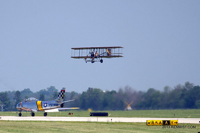 Wright B Flyer replica and F-86 Sabre