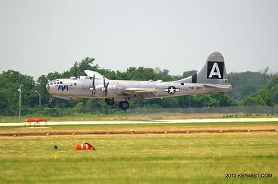 """B-29 """"FIFI"""" in a crosswind landing"""