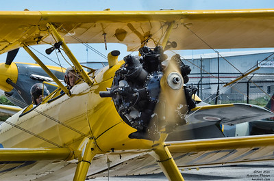 Canadian Warplane Heritage Museum PT-17 Stearman flown by Terry Lebel at the 2015 SkyFest.