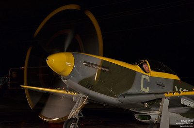 P-51D from Vintage Wings of Canada with founder Michael Potter at the controls during Fighter Night Run at Canadian Warplane Heritage Museum 2015 SkyFest