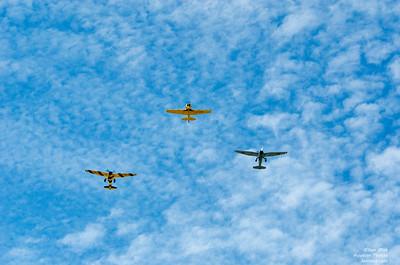 2 Lysanders and a Harvard at Canadian Warplane Heritage Museum 2015 SkyFest