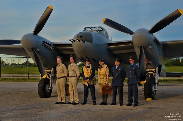 Reenactors with the de Havilland Mosquito