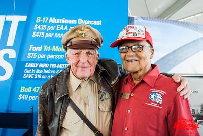 Colonel Charles McGee, Tuskegee Airman, meets Staff Sgt. Doug Ward, a B-17 ball turret gunner at Oshkosh 2015.