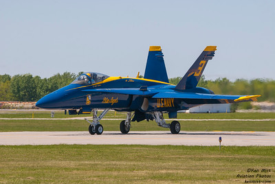 Lt. Andy Talbott, Blue Angels #3, returning after a flight at the 2015 Rochester International Air Show.