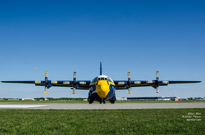 "U.S. Navy Blue Angels C-130 Hercules known as ""Fat Albert"" at the 2015 Rochester International Air Show."