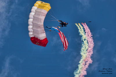All Veterans Group Parachute Team announcer Sunnydale Hyde at 2015 Rochester International Air Show
