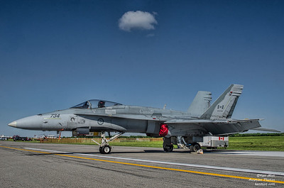 The CF-18 Demo jet was unavailable so a less colorful backup was used at the 2015 Rochester International Air Show.