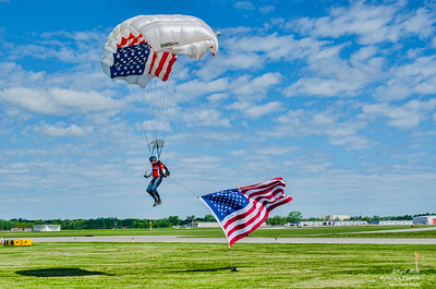 Lucas Oil Skydiver makes a perfect landing on practice day at the 2015 Rochester International Air Show.