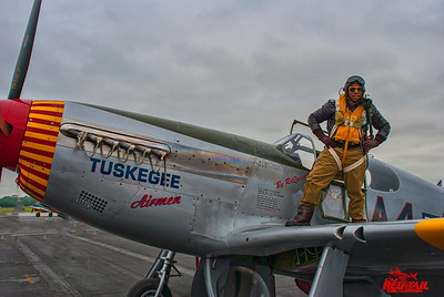 John W. McCaskill with Tuskegee Airmen Mustang at the World War II Weekend at the Mid-Atlantic Aviation Museum in Reading Pennsylvania