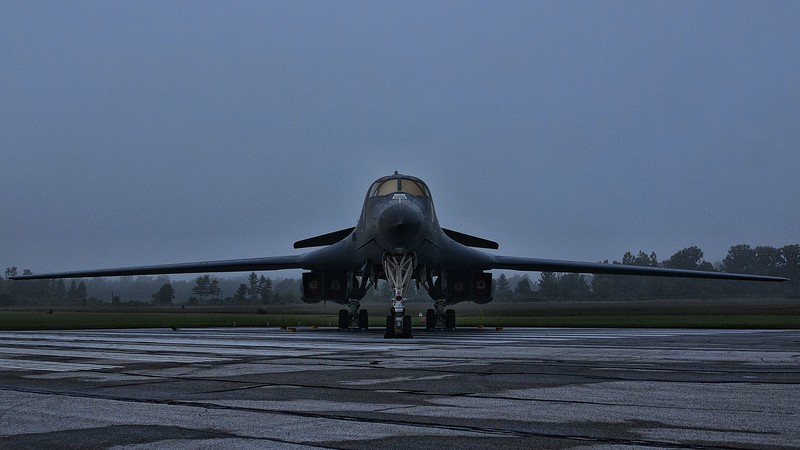 B-1B in the morning mist