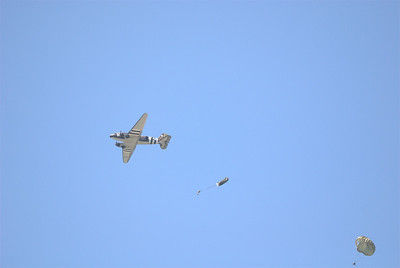 C47 and jumpers using period parachutes.  A stirring sight.