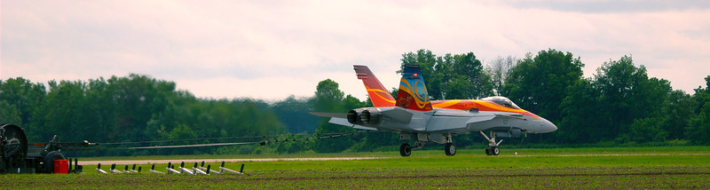 CF-18 Hornet in Demonstration wing colors honoring military families