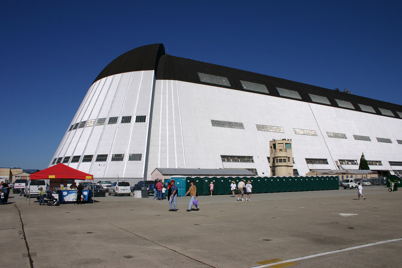 The NASA Ames Research Center, in Mountain View California.  This large hanger housed all kinds of exhibits.  Try to ignore the string of Porta-Potties in front.