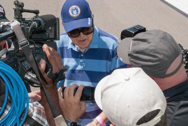 Col. William Brake being interviewed at Sun 'n Fun 2016