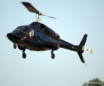 Bell 222B helicopter landing at Tillsonburg Regional Airport