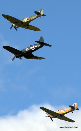 Vintage Wings of Canada Spitfire, Hurricane and Corsair.