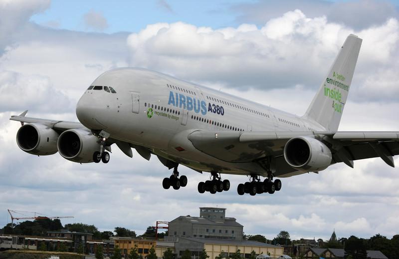 French Airbus A380 Plane landing at the Farnborough Air Show