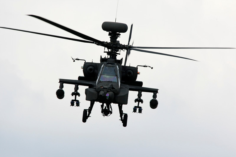 RAF Apache Helicopter in flight