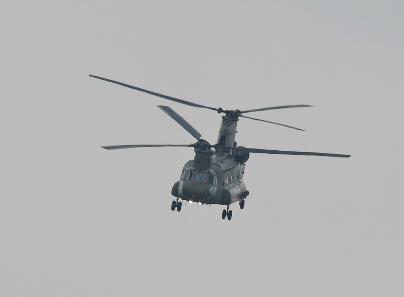 RAF Chinook Helicopter in Flight