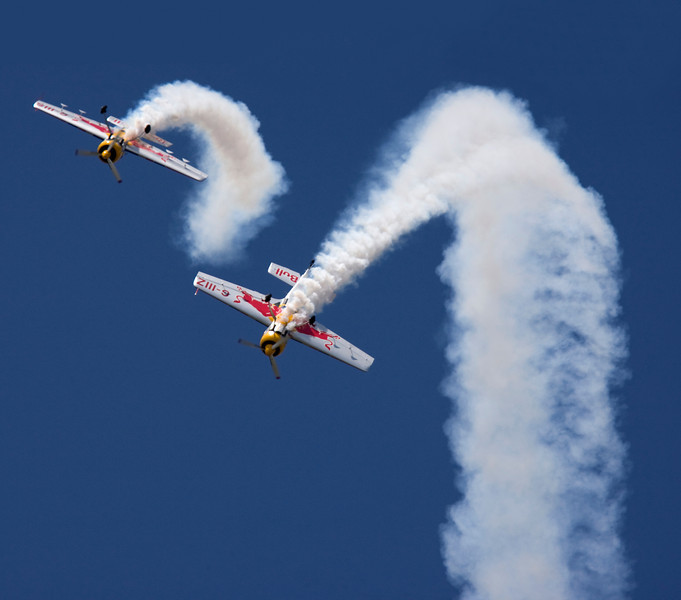 Red Bull Airplanes in acrobatic aerial display