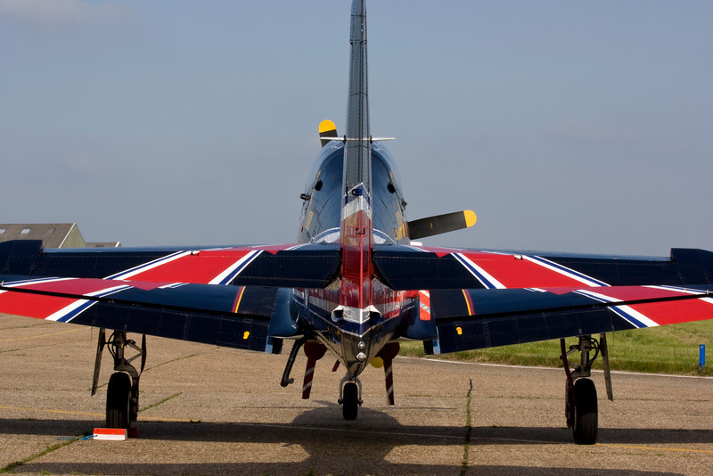 Rear view of Tucano airplane on the ground with Union Flag livery