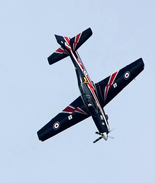 RAF Tucano Plane in flight at the Biggin Hill Air Show