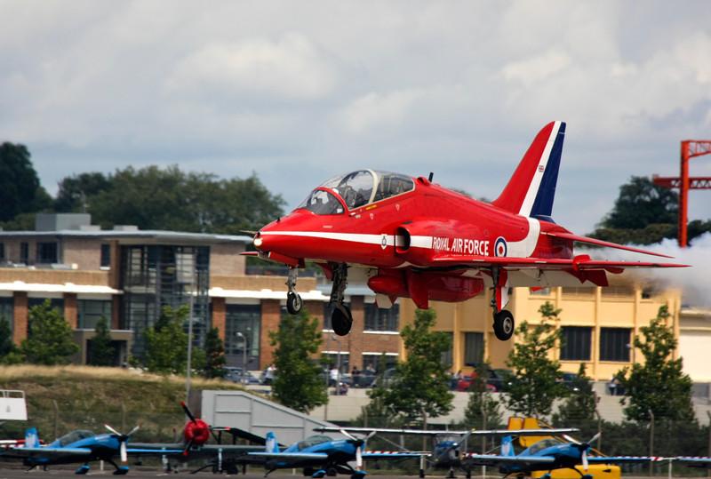 RAF Red Arrows Hawk Jet landing at Biggin Hill Air Show