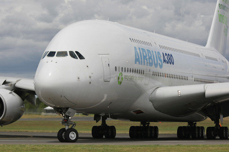 Close up of the French Airbus A380 Airplane