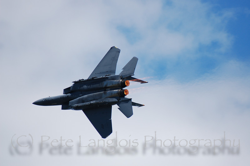 F-15E with afterburners glowing
