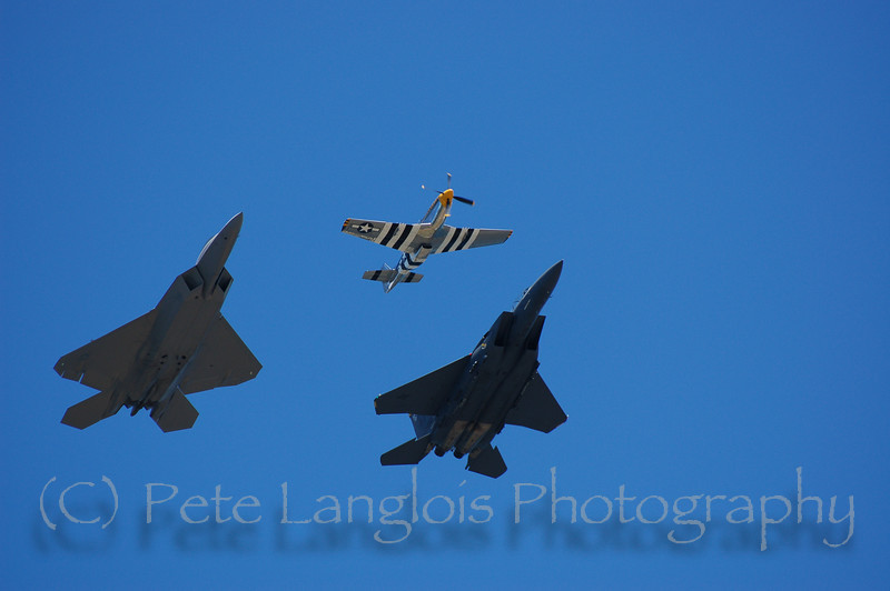 Heritage Flight; P-51 Mustang, F-15 Strike Eagle, F-22 Raptor