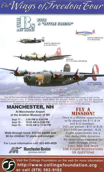 This a the ad which ran in the paper announcing the Wings of Freedom tour coming to Manchester-Boston Regional Airport and the Aviation Museum of NH