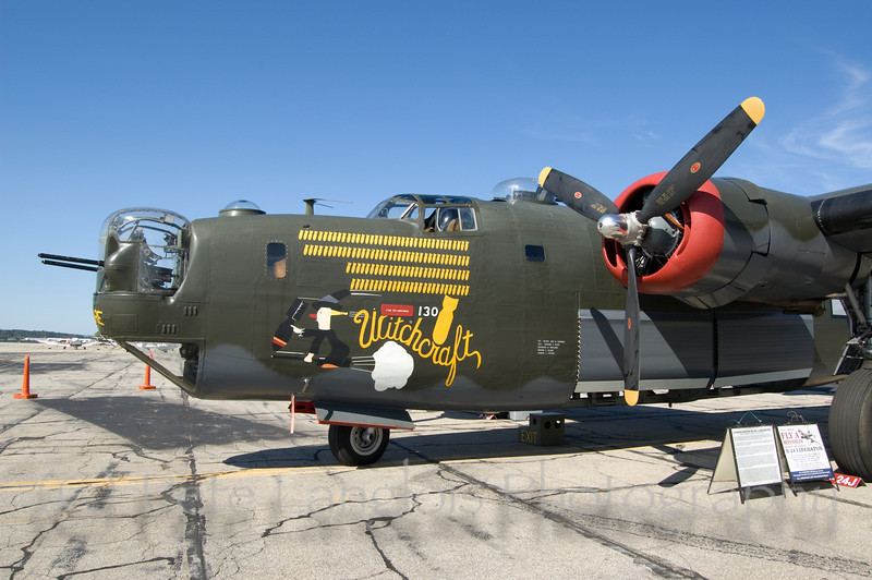 """B-24J Liberator """"Witchcraft"""" on display at the Aviation Museum of NH located at the Manchester-Boston Regional Airport"""