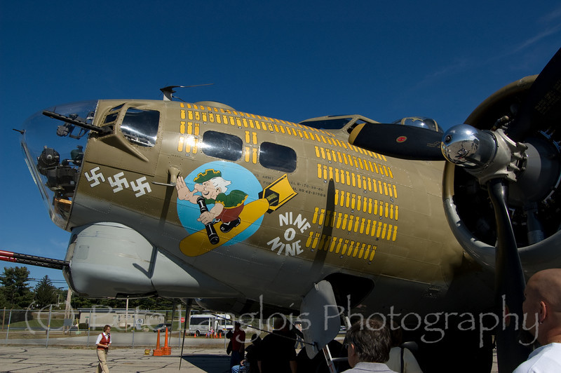 """B-17G Flying Fortress """"Nine O Nine"""" on display at the Aviation Museum of NH located at the Manchester-Boston Regional Airport"""